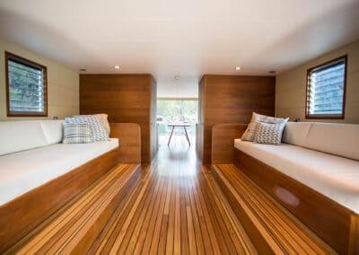 Solar electric boat Interior saloon