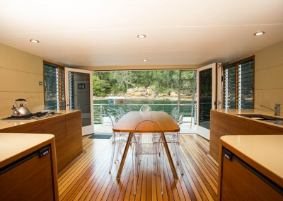 Solar electric boat side dining