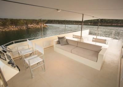 Solar electric boat upper deck