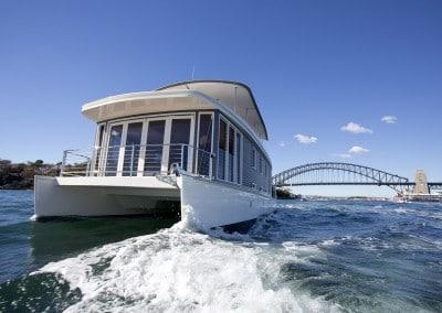 Solar electric boat Sydney Harbour bridge